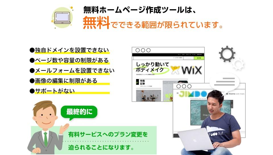 無料でホームページを作成できるサービスは、無料でできる範囲は限られています。